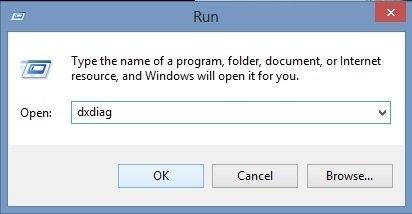 Chọn Start, chọn Run, gõ: dxdiag