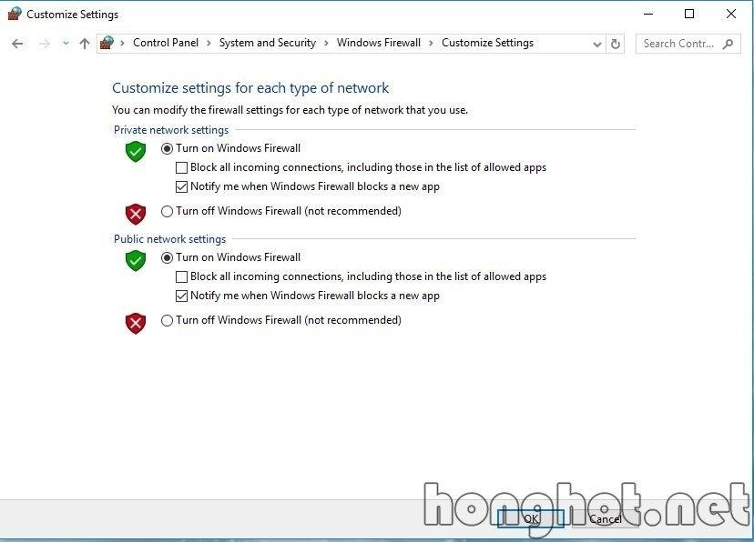 Tắt tường lửa trên Windows10