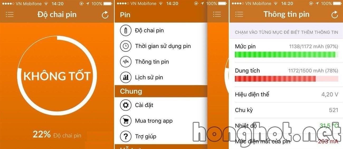 Phần mềm kiểm tra pin Iphone Battery Life