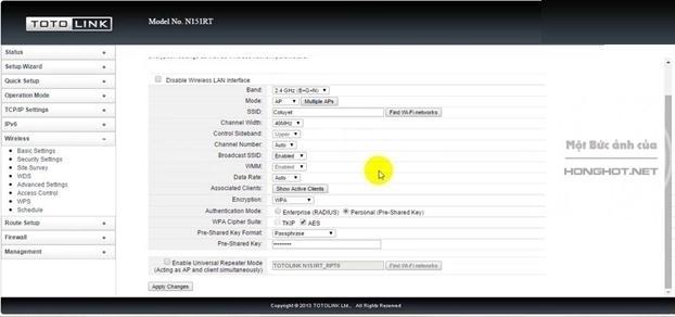 Các thao tác trên router Totolink N151RT