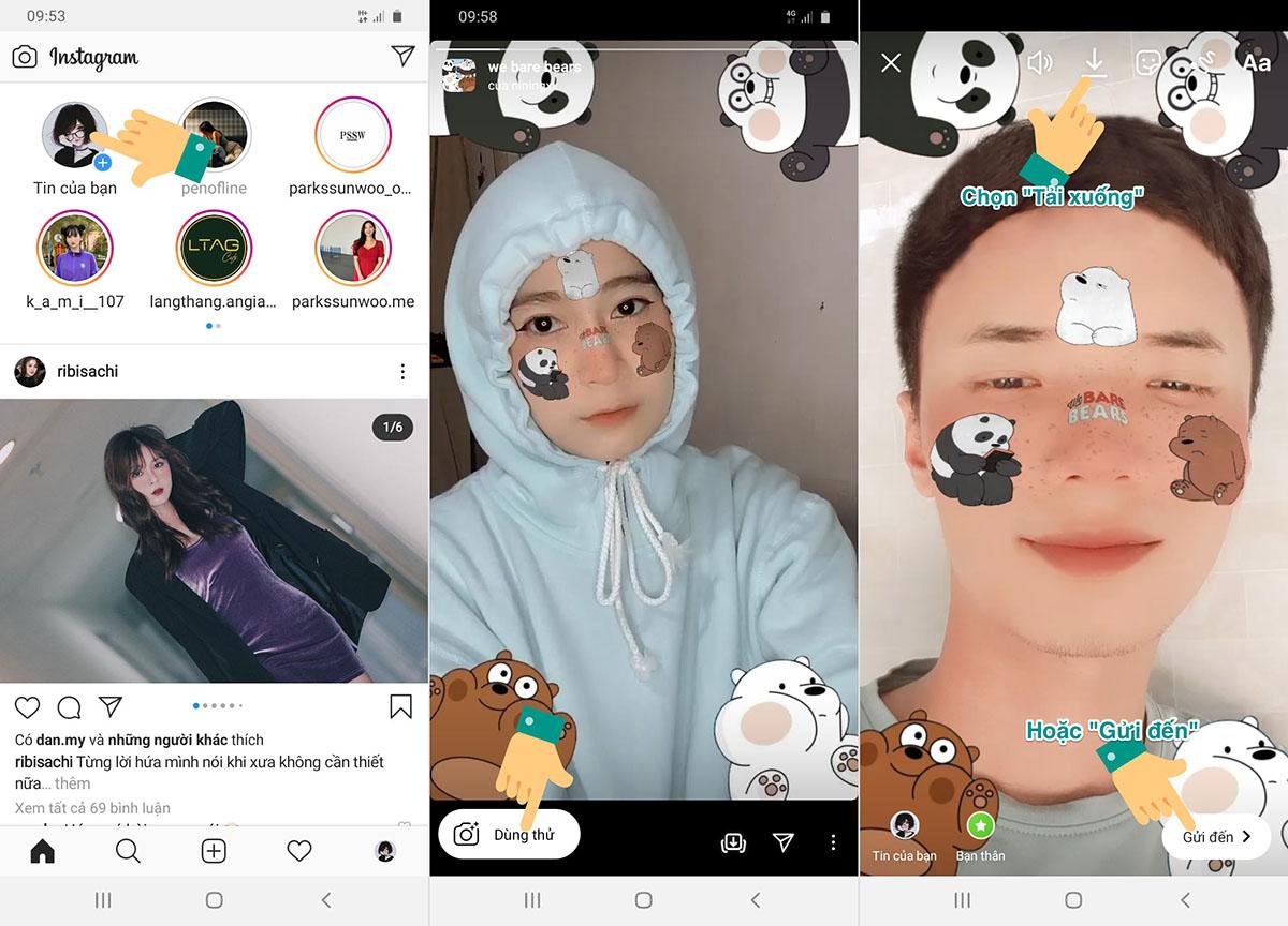 Cách chèn sticker 3 con gấu trên Instagram, TikTok