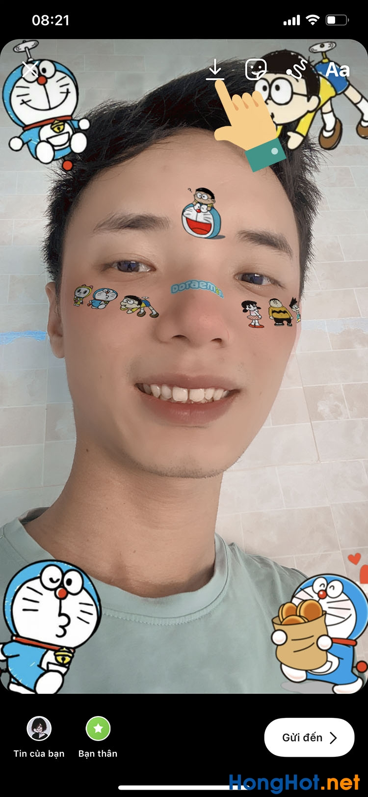 Cách chụp ảnh quay video có hiệu ứng Doraemon trên Instagram TikTok 9