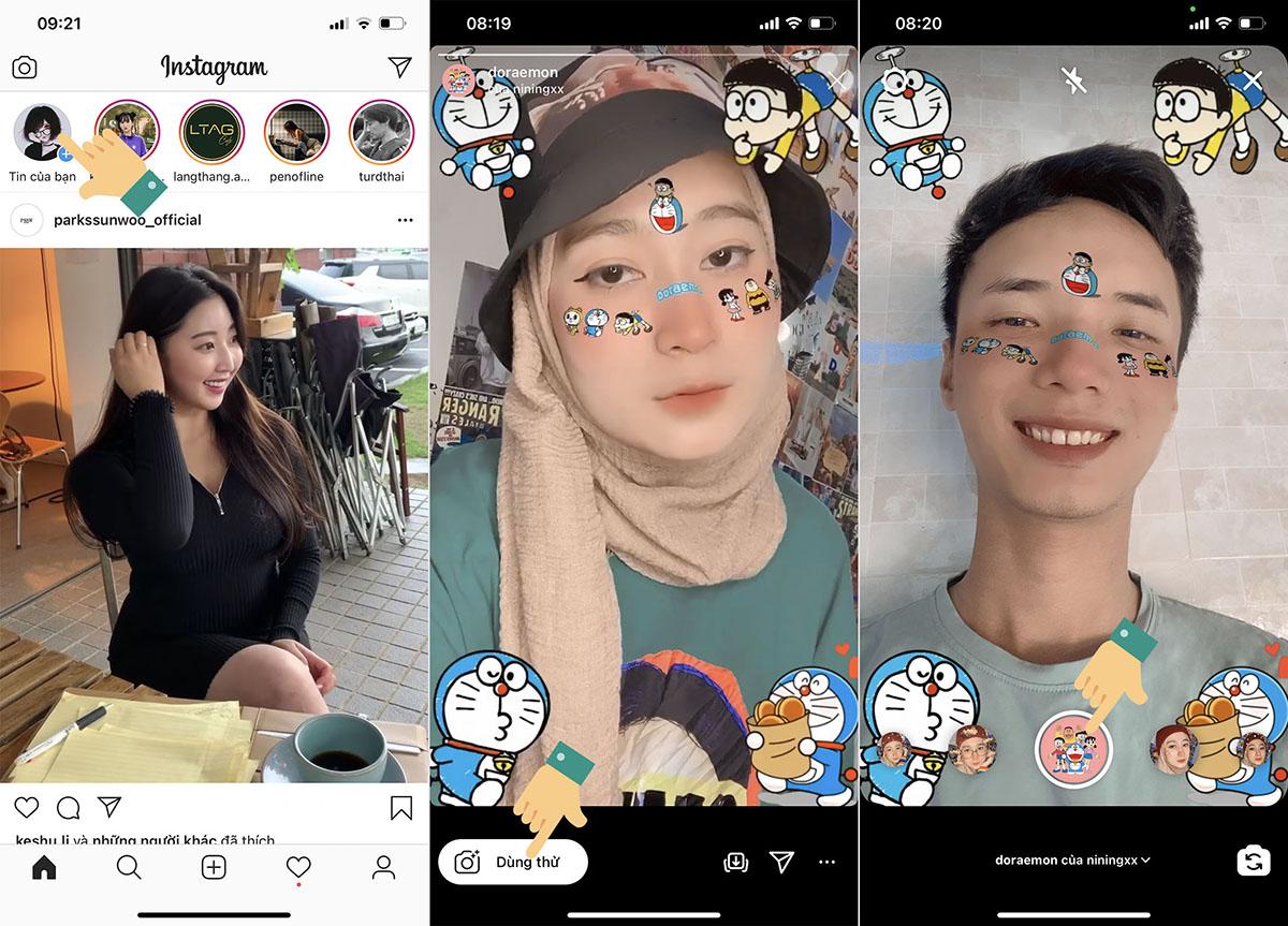 Cách chụp ảnh, quay video có hiệu ứng Doraemon trên Instagram, TikTok