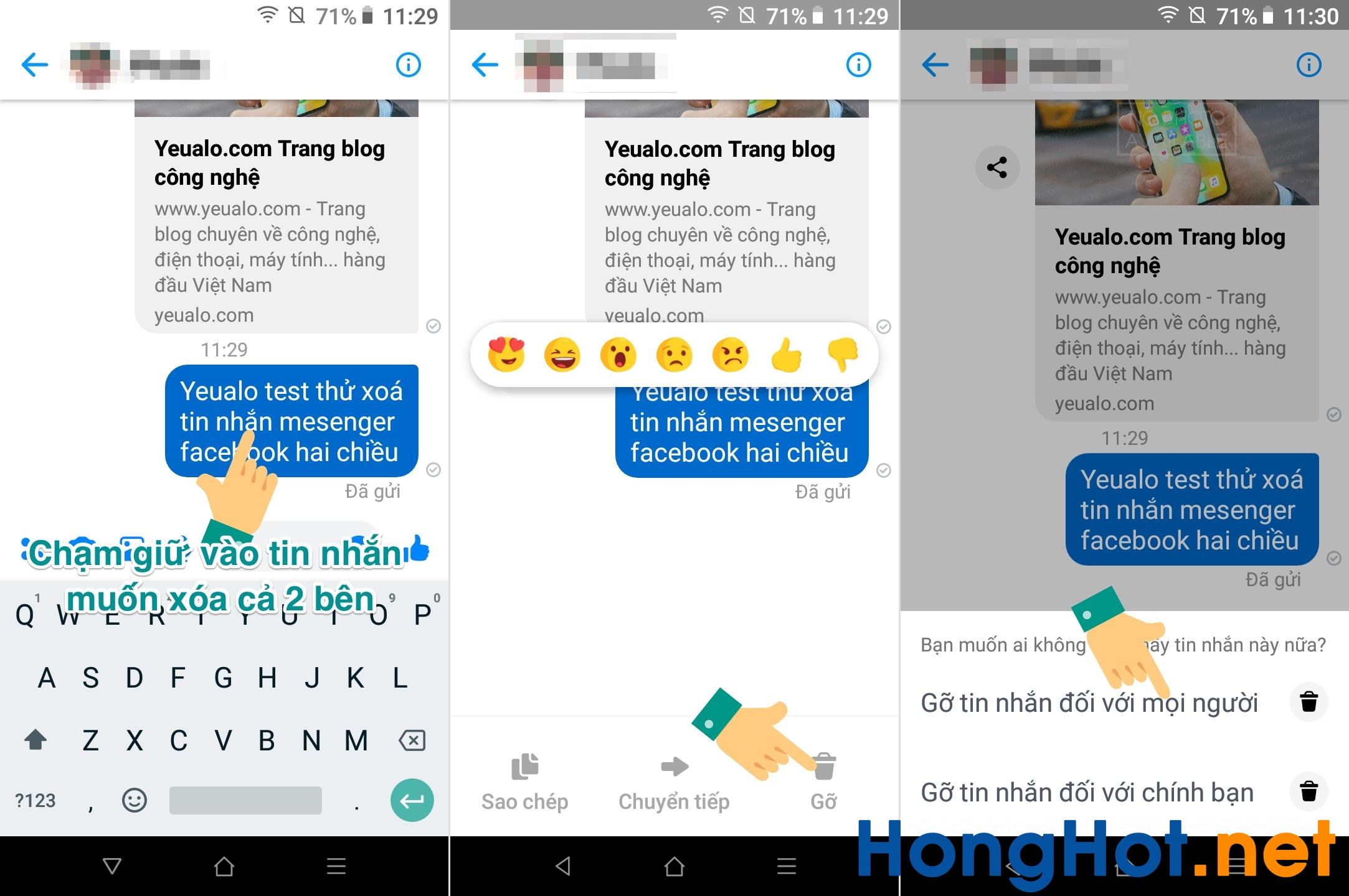 Cách xóa tin nhắn Messenger cả 2 bên trên điện thoại
