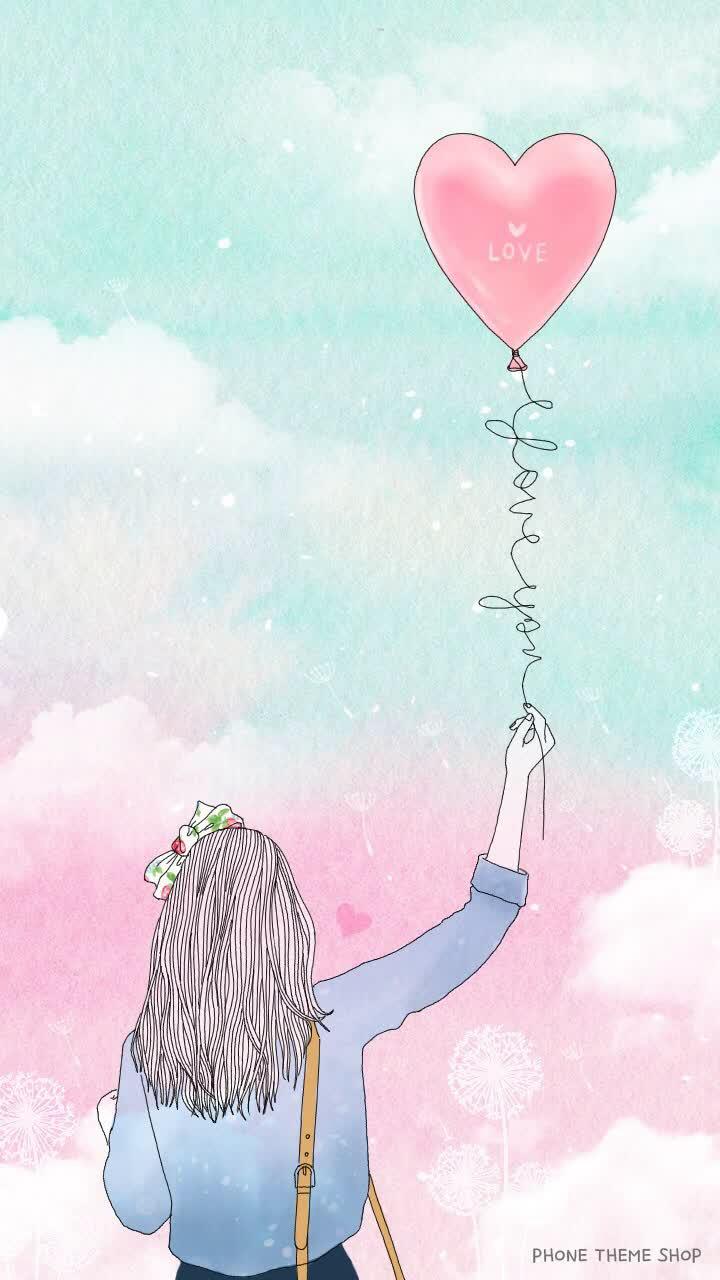 Hình nền bong bóng trái tim